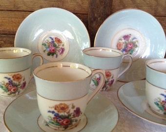 Vintage Colclough Genuine Bone China Demitasse Cups and Saucers Longton England Pastel Blue Childs Tea Set