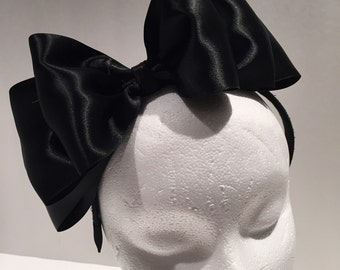 Black Bow Headband- Bow Fascinator- Black Fascinator- Party headband- Bow Headband- Headdress NY- Head Dress- Satin Bow- Black Satin Bow-