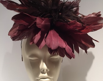 Wine Fascinator - wine Feather Fascinator- handmade in USA- wine Headpiece - Steampunk- Derby- wedding-halloween-Ascot.