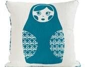 Babushka Screen Printed Cushion Cover – teal, kids pillow, handprint, linen.