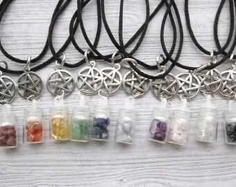 Spell bottle charm pendant, Spell bottle necklace, Wiccan pendant, pagan pendant, Wiccan jewelry, Pentacle necklace, pentagram necklace, wit