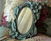 Vintage Aqua Accent Mirror - Chalkware  Frame - Miller Studios 1968 - Plaster Framed Mirror - Hand Painted Mirror - Shabby Cottage Chic