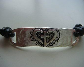 Heart with a Cross Bracelet