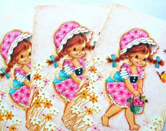 10 Little Girl in Pink Dress Playing Cards - Vintage Playing Cards - 70s Playing Cards - Swap Cards - Trade Cards