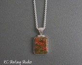 RESERVED - Unakite and sterling silver pendant necklace