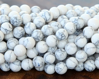 Magnesite Beads, White with Veins, 4mm Round - 15 inch Strand - eGR-MG012-4