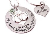 Personalized My Heart Belongs To A Police Officer - Hand Stamped Jewlery - Police Man - Trooper - Highway Patrol Officer - Cop Police Wife