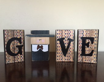 Give Blocks, Wood Thanksgiving blocks, wood pilgrim, fall decor, thanksgiving decor, thanksgiving sign, wood block sign, home decor
