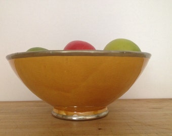 Vintage orange fruit bowl trimmed with silver melon colored decirative bowl by herminas cottage