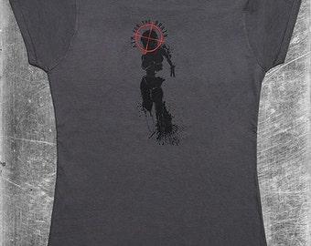 Ladies Zombie Shirt, Female Zombie T Shirt, Zombie Shirt, Zombie Horror, Aim For The Brain, Target Shirt, Gift for Zombie Fan, Halloween