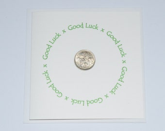 Good Luck Sixpence Card Personalised. New Job, Good Luck in your Exams, Starting College/University. RAF Pilot British Sixpence for Luck
