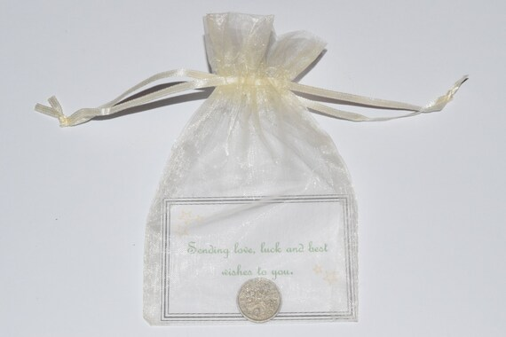 Lucky Sixpence.  Good Luck Charm.  Original Gift for Luck.  With printed verse and organza bag.