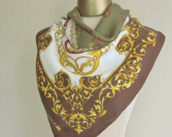 Equestrian vintage silk scarf, carriages, traditional, square headscarf