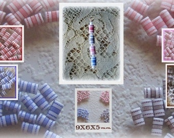 Polka Dot Striped Tube Beads 9x6MM Red, Pink, Blue, Brown, Vintage Lucite  Beads