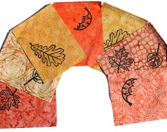 Fall Leaves Gratitude Flags (Made with original hand carved block prints) (large) Prayer flags