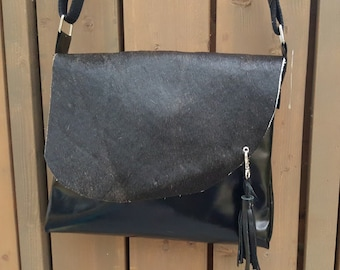 "KUHIE®, cow fur bag ""Tessa"" from black leather and black cowhide, cowhide, bag, leather tassel Leatherbag,"