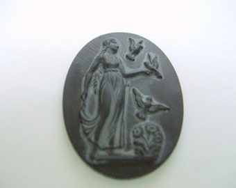 Vintage Slate Glass Cabochon with Inpression of a Goddess with Birds    # ZZZ 6