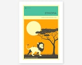 VISIT ETHIOPIA, African Travel poster, Retro Wall art for the Home Decor, Giclee Fine Art Print