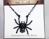 Halloween Accessory Black Widow Spider Necklace, Hematite Sparkles, 18 Inch Black Chain, Spooky, Eerie, Scary, Fun Jewelry