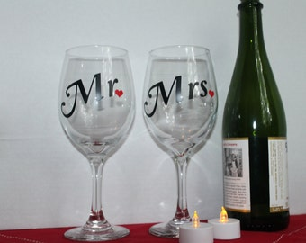 Mr or Mrs. Wine Glasses