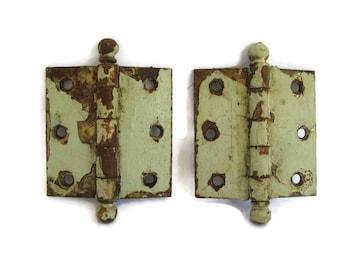 vintage hardware, 2 count door hinges, chippy green paint, 1940's