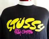 vintage 90's Stussy NYLTLA Chapter black graphic t-shirt yellow hot pink logo print men women unisex surfer skateboarder punk hip hop XXL