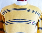 vintage 90's Tommy Hilfiger yellow gold charcoal grey horizontal stripe cotton jersey knit crew neck sweater pullover jumper unisex medium
