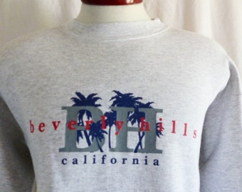 vintage 90's Beverly Hills California heather grey fleece graphic sweatshirt tourist travel crew neck pullover jumper red blue palm tree lar