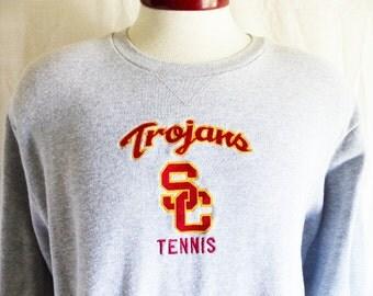 Go Trojans vintage 90s USC University of Southern California Tennis heather grey fleece graphic sweatshirt red yellow embroidered logo XL