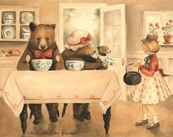 Fairy Tale Storybook Classic - Goldilocks and the Three Bears / Large Print 14x11 - illustration, watercolor, children's art, forest nursery