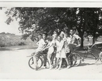 Old Photo Group of Teen Girls and Boys with Tandem Bicycles 1940s Photograph snapshot vintage