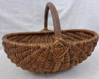 Antique Woven Willow Basket, Small Rump Basket, Woven Basket  With Handle