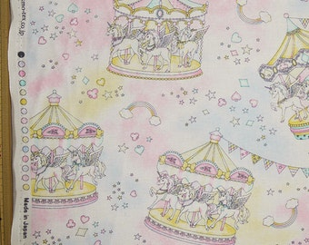 Cute Merry Go Round Print Japanese Light Pink - 110cm x 50cm