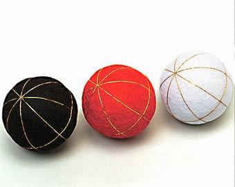 MIYAKO TEMARI Core Ball - Traditional Japanese Temari Base - Choose from White, Black, or Red