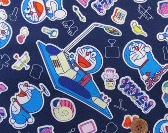 Doramemon / Japanese Fabric Navy 100cm x 50cm