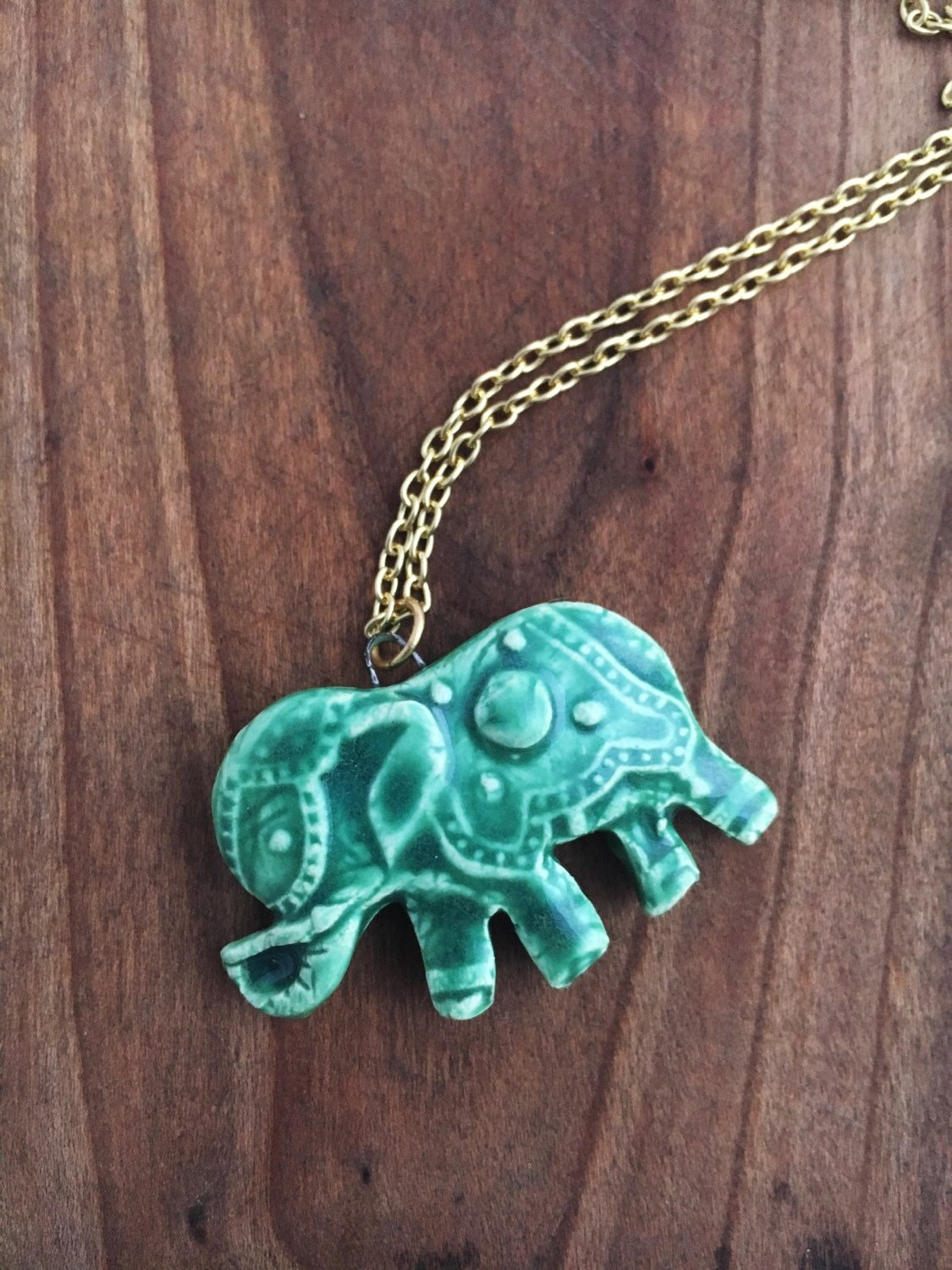 jade green elephant necklace by pitchpinepottery on etsy