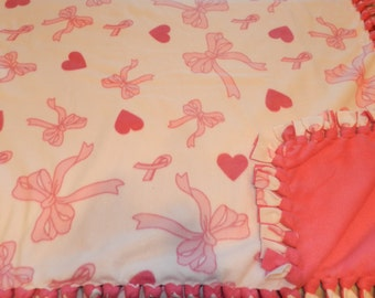 Pink Bows and Hearts Fleece Ties Blanket