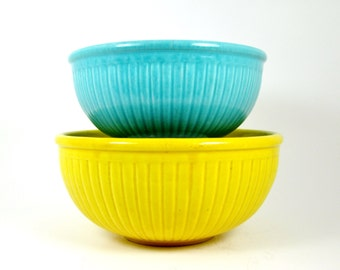 Ribbed Mixing Bowls - Vintage Nesting Glazed Pottery - Yellow & Turquoise - AS IS