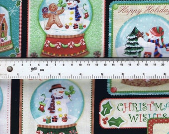 Fat Quarter Holiday Snowglobe Snowmen 100% Cotton Quilting Fabric Black