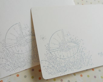 Baby carriage in a flower garden with butterflies, baby thank you flat note card stationery in blue, pink, yellow or grey set of 10.