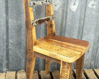 Reclaimed Wood & Steel Backed Chair