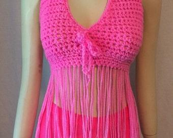Hand crocheted neon pink halter top