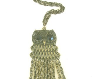 Brass Owl with chain dangle * pendant owl * 1990's jewelry