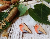 Small Wood Robin Earrings with silver plated studs - Natural Bohemian Laser Cut Jewelry Gift Idea with special message