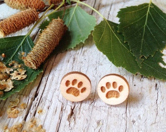 Small Wood Pawn Earrings with silver plated studs - Natural Bohemian Laser Cut Jewelry Gift Idea with special message
