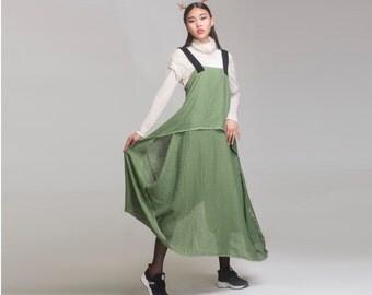 green linen maxi dress linen cotton maxi dress long dress vest dress