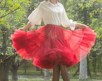 tulle skirt tutu skirt lolita skirt maxi skirt chiffon skirt wedding skirt princess skirt short tulle skirt in clor dark red