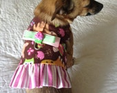 """Harness Vest for Small Dog - Flannel """"Delightful Deer"""" Print, Chocolate, Tan, Pink, Mint Green, Apricot & White Custom Shih Tzu Yorkie Size"""