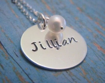 Personalized Name Necklace, Sterling Silver, Custom, Hand Stamped, Personalized Mother Necklace, Mommy Jewelry, Grandmother, Nana necklace
