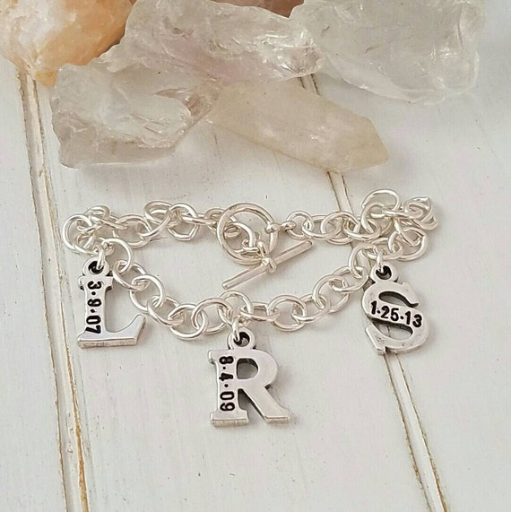 Personalized Mother Bracelet, Sterling Silver, Custom Made, 3 Letter, Initial and Date, Hand Stamped, Toggle Bracelet, Mommy Jewelry, Nana